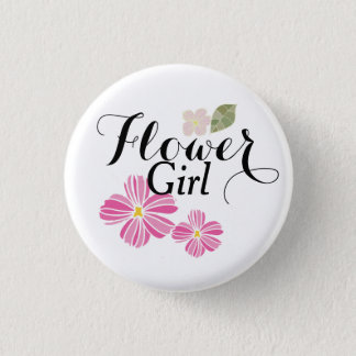 Flower Girl Custom Wedding Pinback Buttons Badges