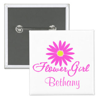 Flower Girl Daisy/ Pink 15 Cm Square Badge
