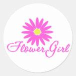 Flower Girl Daisy/ Pink Classic Round Sticker