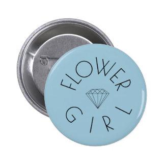 Flower Girl Diamond Black on Blue 6 Cm Round Badge
