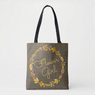 Flower Girl Fall Wreath Rustic Burlap Wedding Tote Bag