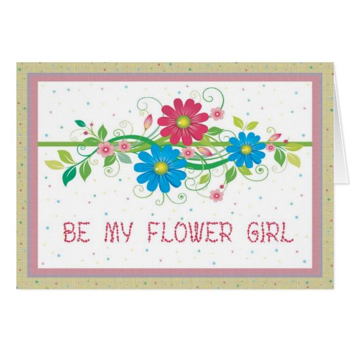 Flower Girl Floral Bridal Party Invitation Greeting Card