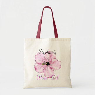 Flower Girl Gift Pink Hibiscus Art Tote Bag