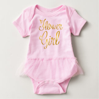 Flower Girl Gold and Pink Tutu Baby Bodysuit