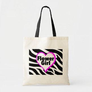 Flower Girl Heart Zebra Stripes Tote Bags