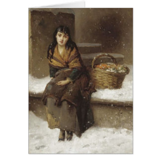 Flower Girl in Brown Greeting Card