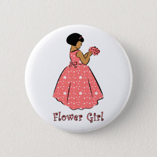 Flower Girl in Coral 6 Cm Round Badge