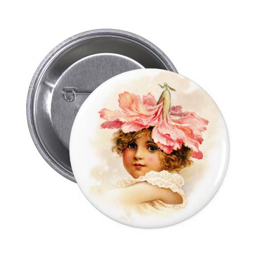 Flower Girl in Pink Pinback Buttons