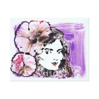 Flower Girl Monoprint Wrapped Stretched Canvas Canvas Print