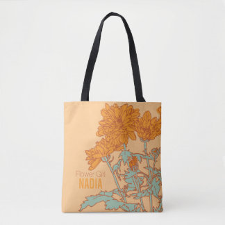 Flower Girl orange chrysanthemum wedding tote bag