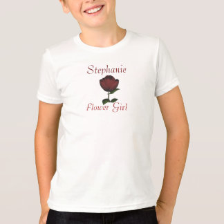 """""""Flower Girl"""" - Personalized w/ Red Rose/Wedding I T-shirt"""