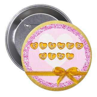 Flower Girl Pink and Gold Button