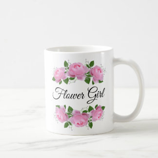 Flower Girl Pink Roses Personalized Coffee Mug