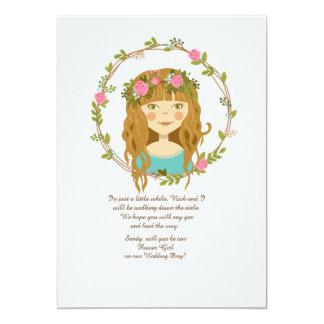 Flower Girl Request Card Teal 13 Cm X 18 Cm Invitation Card