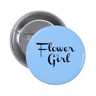 Flower Girl Retro Script Black on Blue 6 Cm Round Badge