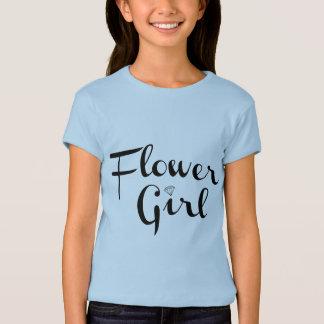 Flower Girl Retro Script Black on Blue T-Shirt