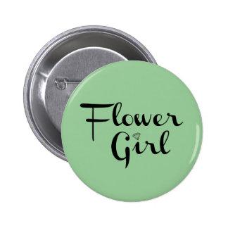 Flower Girl Retro Script Black on Green 6 Cm Round Badge