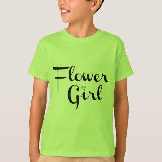 Flower Girl Retro Script Black on Green T-Shirt