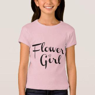 Flower Girl Retro Script Black on Pink T-Shirt