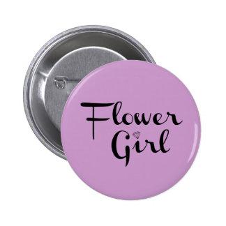 Flower Girl Retro Script Black on Purple 6 Cm Round Badge