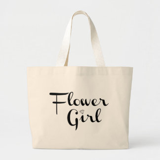 Flower Girl Retro Script Black on White Large Tote Bag