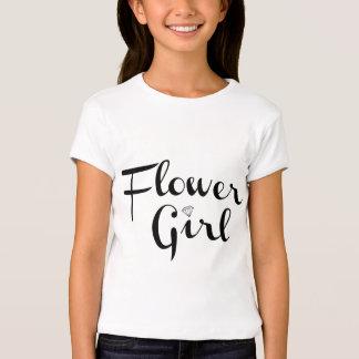 Flower Girl Retro Script Black on White T-Shirt