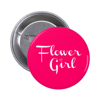 Flower Girl Retro Script White on Hot Pink 6 Cm Round Badge