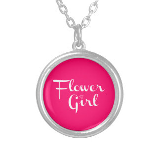 Flower Girl Retro Script White on Hot Pink Silver Plated Necklace