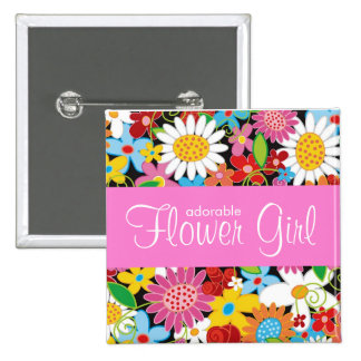 FLOWER GIRL Spring Flowers Garden Wedding Name Tag 15 Cm Square Badge