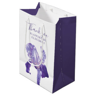 Flower girl thank you wedding iris favor gift bag