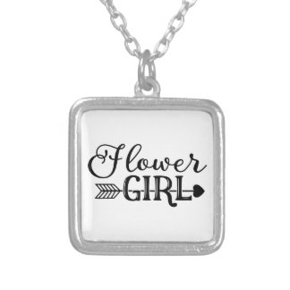 Flower Girl, Tribe Arrow, Wedding Party Silver Plated Necklace