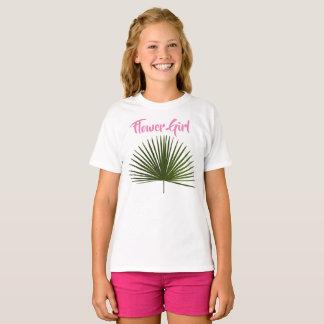 Flower Girl Tropical Palm Frond Leaf Wedding T-Shirt
