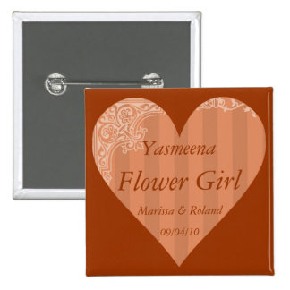 """""""Flower Girl"""" w/ Names and Wedding Date 15 Cm Square Badge"""