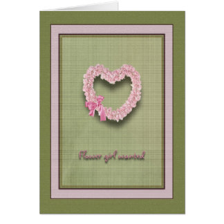 Flower girl wanted Heart of Pink Roses Card