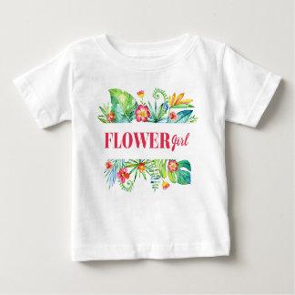 Flower Girl Watercolor Tropical Destination Weddin Baby T-Shirt
