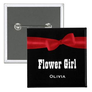 FLOWER GIRL Wedding Custom Name V02N RED Button