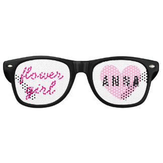 Flower Girl Wedding Favor Black Pink Name A03 Retro Sunglasses