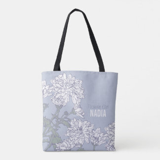 Flower Girl white chrysanthemum grey wedding bag