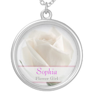 Flower Girl - White Rose Wedding Necklace