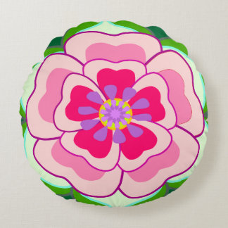Flower,girl's room round cushion