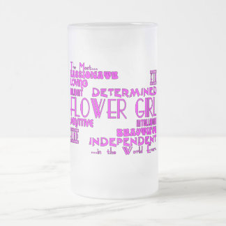 Flower Girls Thank You Wedding Favors : Qualities Frosted Glass Mug