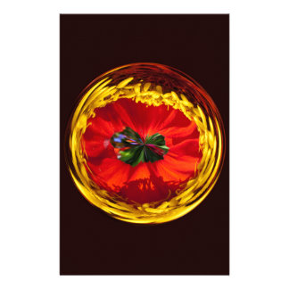 Flower globe in red and yellow customised stationery