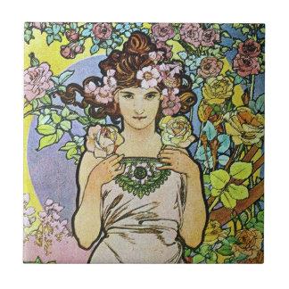 Flower Goddess Small Square Tile