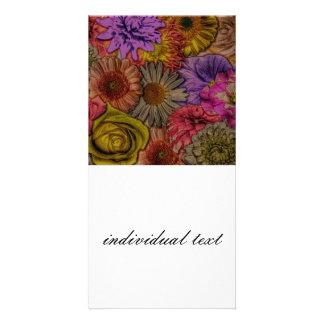 flower greetings, vintage look custom photo card