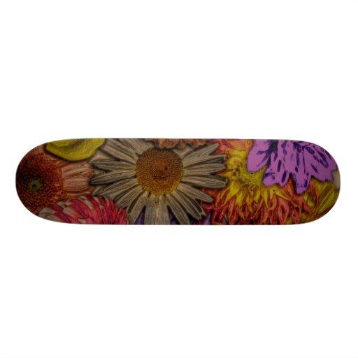 flower greetings, vintage look skate decks