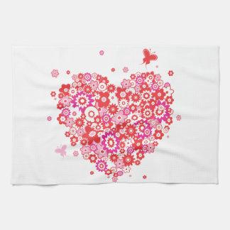 Flower Heart 1 Kitchen Towels
