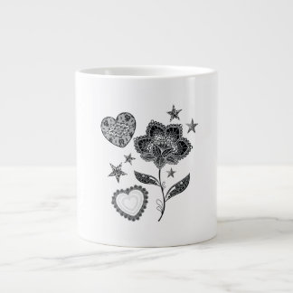 flower heart and stars large coffee mug