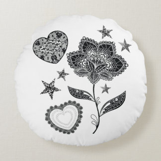 flower heart and stars round cushion