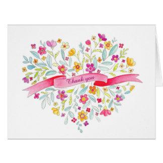 Flower heart bouquet art thank you card