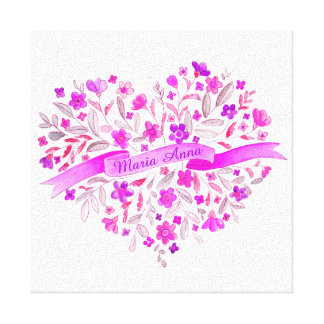 Flower heart pink purple name watercolor art canvas print